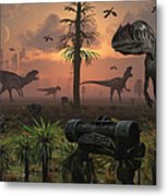 A Herd Of Allosaurus Dinosaur Cause Metal Print