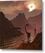 A Herd Of Omeisaurus Dinosaurs Metal Print
