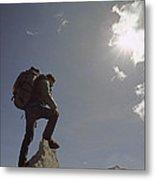 A Hiker Rests Atop A Huge Granite Metal Print