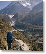 A Hiker With A Mountain Range Metal Print
