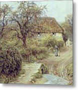 A Hill Farm Symondsbury Dorset Metal Print by Helen Allingham