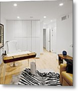 A Home Office. A Black And White Zebra Metal Print