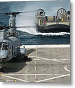 A Hovercraft Approaches Uss New Orleans Metal Print