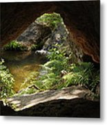 A Huge Hole In Rock With A Water View Metal Print