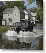 A Humvee Drives Through The Floodwaters Metal Print