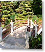 A Japanese Garden Bridge From Sun To Shade Metal Print