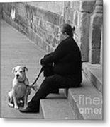 A Lady With Her Dog In Barcelona Metal Print
