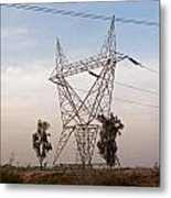 A Large Steel Based Electric Pylon Carrying High Tension Power Lines Metal Print