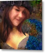 A Lass With Her Parrot Metal Print by Jill Balsam