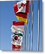 A Line Of Flags Represent The Countries Metal Print