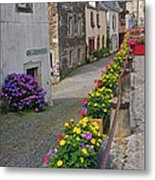 A Line Of Flowers In A French Village Metal Print