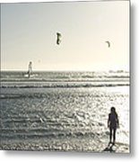 A Little Girl Plays In The Late Metal Print by Stacy Gold