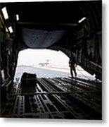 A Loadmaster Guides The Pilot Of A C-17 Metal Print