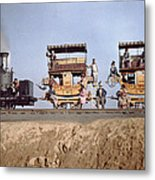 A Locomotive And Two Coaches Metal Print