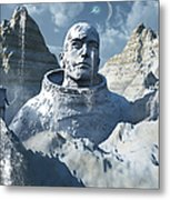 A Lone Astronaut Stares At A Statue Metal Print