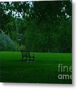 A Lonely Autumn Bench  Metal Print
