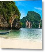 A Long Tail Boat By The Beach In Thailand  Metal Print