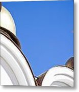 A Low Angle Shot Of A White Church Metal Print