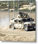 A M1114 Humvee Patrols The Perimeter Metal Print