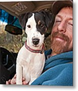 A Man And His Puppy In Wv Metal Print