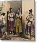 A Man And Three Women From Puebla Metal Print