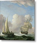 A Man-o'-war In A Swell And A Sailing Boat Metal Print
