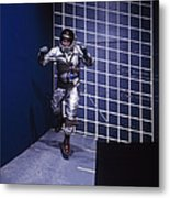 A Man Walks A Wall In A Special Harness Metal Print
