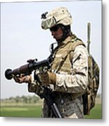 A Marine Looks At A Brand New Metal Print