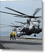 A Marine Mh-53 Helicopter Takes Metal Print