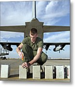 A Marine Replaces Flares In Flare Metal Print