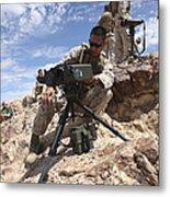 A Marine Sets Up A Laser Designator Metal Print by Stocktrek Images