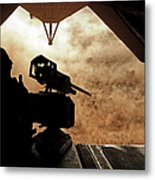 A Marine Waits For Dust To Clear While Metal Print