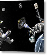 A Mars Cycler Travels By The Earth Metal Print