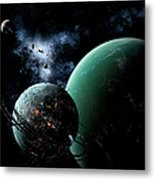 A Massive Space Station Orbits A Large Metal Print