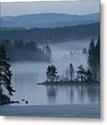 A Misty Forest Lake With A Small Island Metal Print