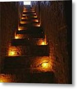 A Narrow Staircase Lit With Candles Metal Print