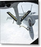 A Navy Fa-18f Super Hornet Is Refueled Metal Print by Stocktrek Images