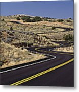 A Newly Paved Winding Road Up A Slight Metal Print