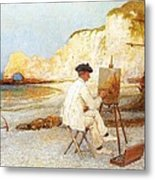 A Painter By The Sea Side Metal Print