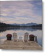 A Pair Of Adirondack Chairs On A Dock Metal Print