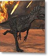 A Pair Of Allosaurus Dinosaurs Running Metal Print