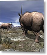 A Pair Of Male Elasmotherium Confront Metal Print