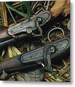 A Pair Of Old Flint-type Rifles Lying Metal Print