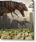A Pair Of Tyrannosaurus Rex Explore Metal Print