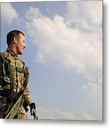 A Paratrooper Looks On As Other Metal Print