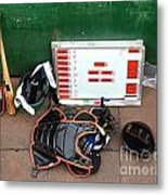 A Peak Into The Dugout During A Baseball Game Metal Print by Yali Shi