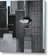 A Person On A Skyscraper Under A Storm Cloud Getting Rained On Metal Print