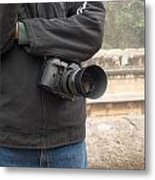 A Photographer With His Digital Camera On Location At A Historical Monument Metal Print