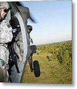 A Platoon Sergeant Prepares To Land Metal Print
