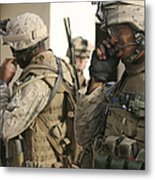 A Radio Operator Helps A Platoon Metal Print by Stocktrek Images